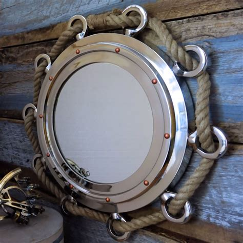 beachy bathroom ideas nautical porthole nickel finish 23 quot mirror with a