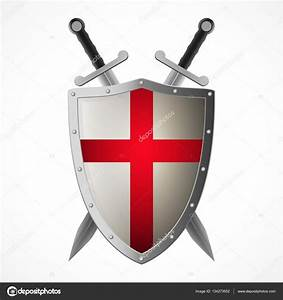 Vector crusaders shield and crossed swords — Stock Vector ...