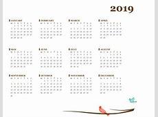 2019 yearly calendar MonSun