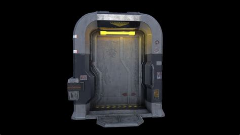 sci fi door 3d low game vr poly various models cgtrader ar ready asset