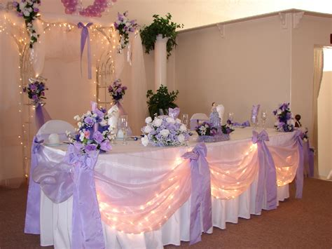 wedding main table decor lavender and white head table decor wedding reception