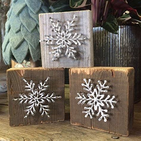rustic snowflake string art wooden block  unique gift