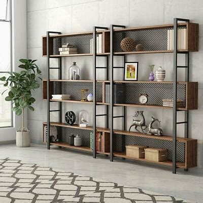 Vintage Industrial Bookcase by Tribesigns 5 Shelf Bookshelf Vintage Industrial Bookcase