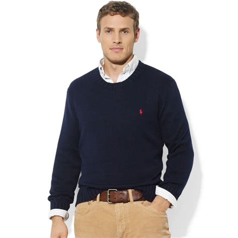 ralph polo sweaters ralph crew neck cotton sweater in blue for lyst
