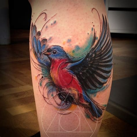 sweet watercolor tattoo bird forearm tattoo