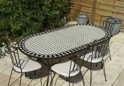 Table De Jardin Mosaique Fer Forge by Table Jardin Mosaique Ovale 200cm C 233 Ramique Blanche Losange En Ardoise Table Jardin Mosa 239 Que