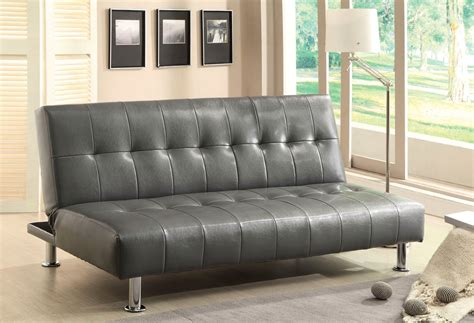 Bulle Contemporary Gray Futon Sofabed With Leatherette Or