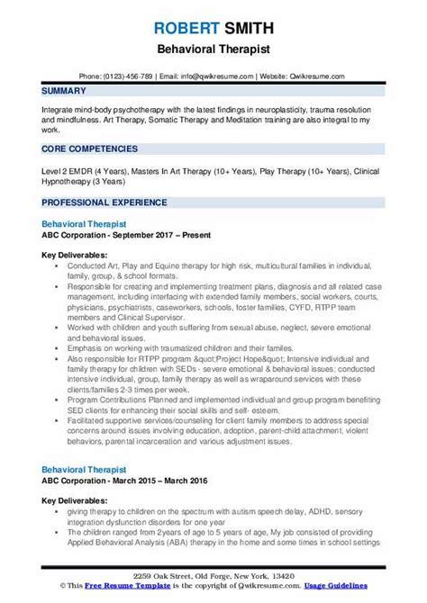 behavioral therapist resume samples qwikresume