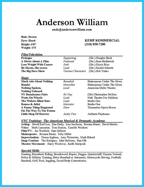 Resume Templates For Beginners by Actor Resume Sle Presents How You Will Make Your