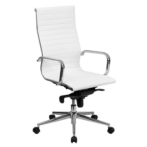 white executive desk chair high back white ribbed upholstered leather executive