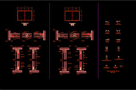 details windows  aluminum profiles dwg plan