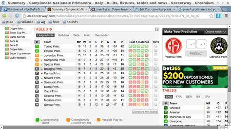 Summary England Premier League Results Fixtures Tables And