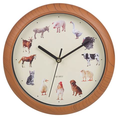 yard animal print wall clock musical sounds battery