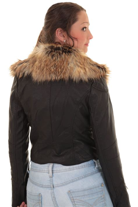 ladies detachable faux fur collar womens crop synthetic