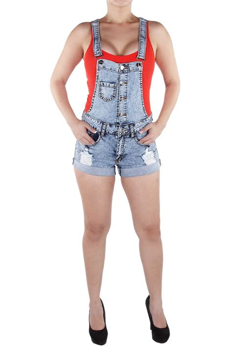 XH9143 - Juniors Button Up Ripped Jumper Romper Denim Overall Shorts at Amazon Womenu2019s Clothing ...