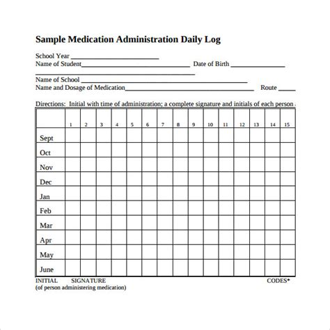 medication administration record template medication log template free chlain college publishing