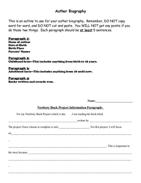 newbery author biography  paragraph outlines