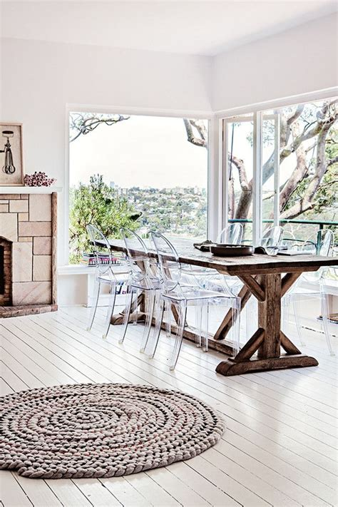 ghost chairs with wood table wood farm table lucite chairs home pinterest