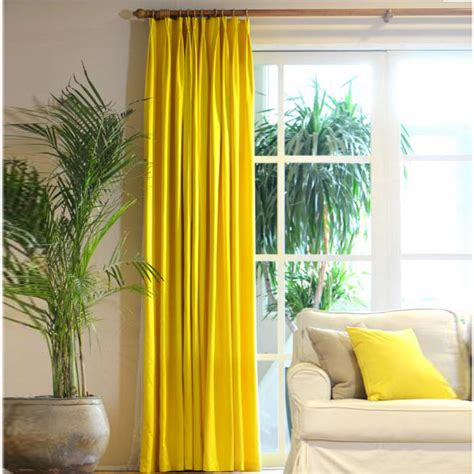 floor  ceiling lemon yellow curtains cotton fabric