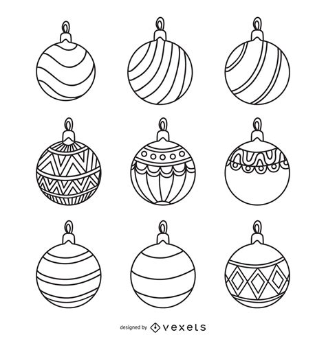 christmas ornament outlines printable ornament outlines set free vector