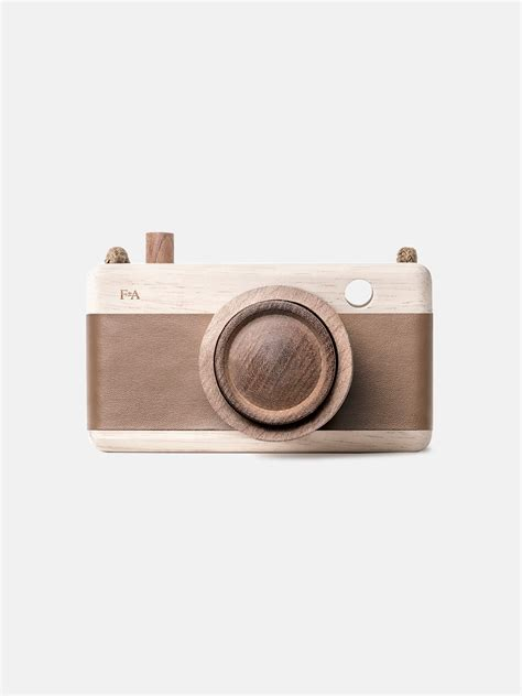 wooden camera warm bark brown moon picnic
