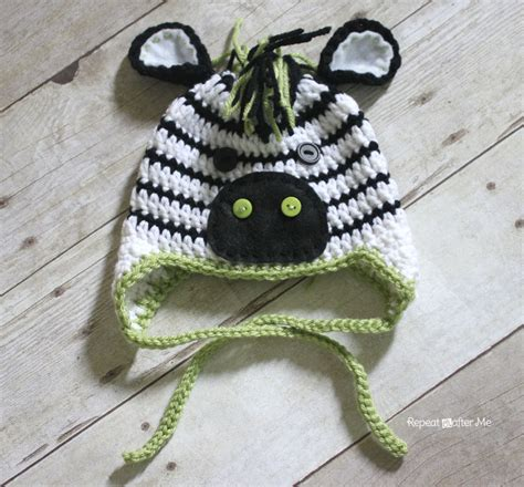 crochet zebra hat pattern repeat crafter