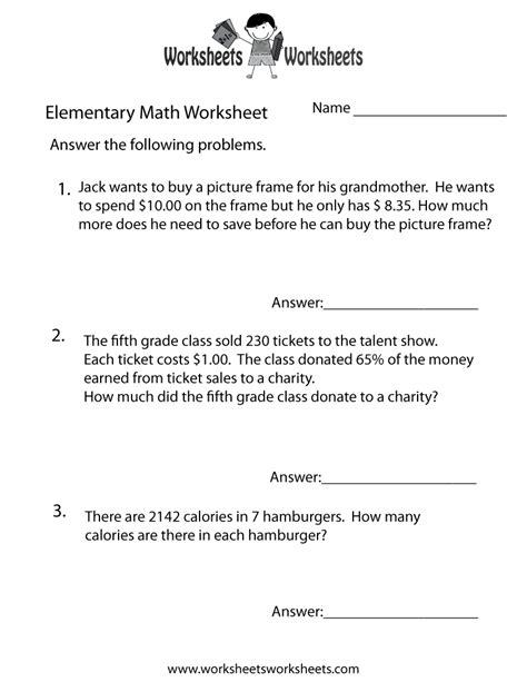 elementary math word problems worksheet free printable educational worksheet