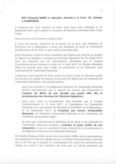 lettre de khalifa sall au pr 233 sident de l assembl 233 e nationale moustapha niass la vie