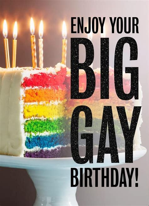 gay birthday card cake rainbow stripe cards hallmark greeting send sign