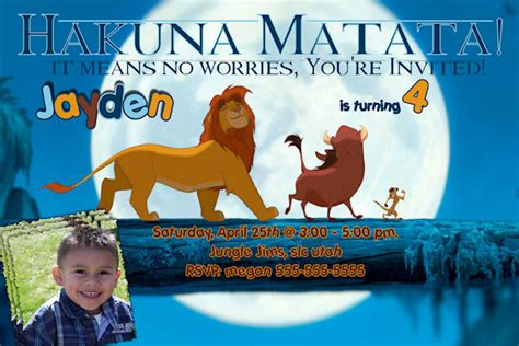 custom lion king birthday invitation printable