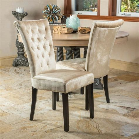 Chairs Dining Room Chairs by Set Of 2 Dining Room Chagne Velvet Dining Chairs W