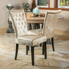 (set Of 2) Dining Room Champagne Velvet Dining Chairs W