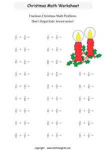 Christmas Math Fractions Worksheets 6th Grade