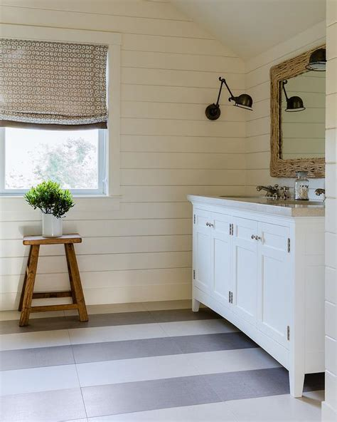 white  gray stripe painted bathroom floors cottage