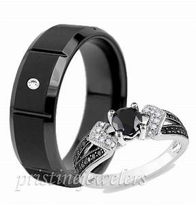 lovely wedding rings set for him and her titanium cz With titanium wedding ring sets for him and her