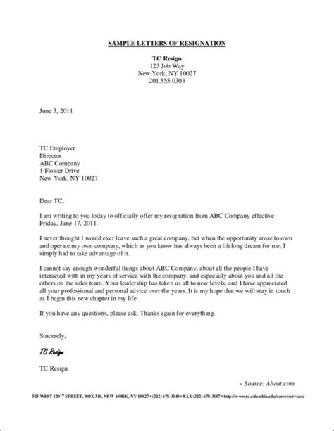 Polite Resignation Letter Sample | TemplateDose.com