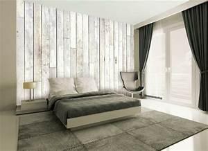 Graue Tapete Schlafzimmer : tapete in holzoptik 24 effektvolle wandgestaltungsideen ~ Michelbontemps.com Haus und Dekorationen