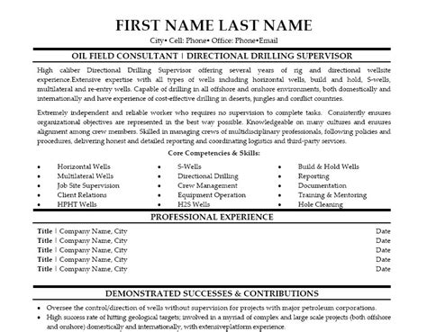 directional drilling supervisor resume template premium