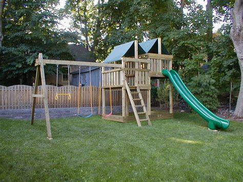 gemini playset diy wood fort  swingset plans