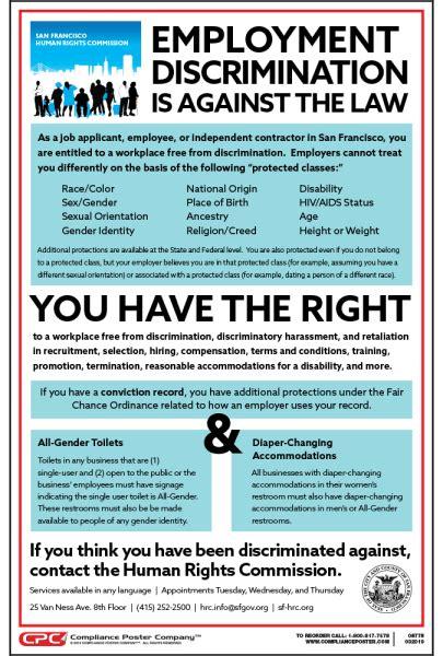 san francisco ca employment discrimination poster
