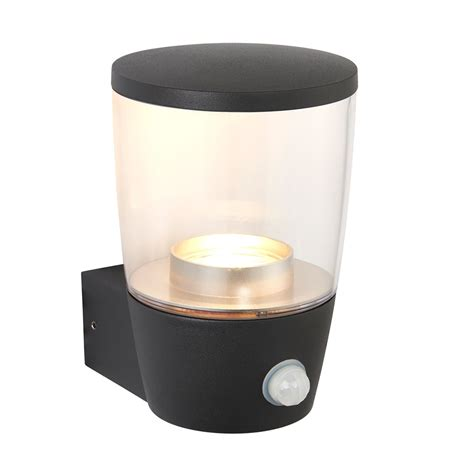endon lighting canillo outdoor pir single led wall light in dark matt anthracite and clear