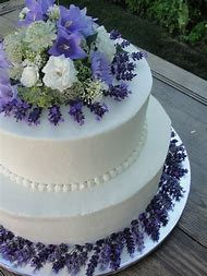 Wedding Cake with Lavender Flowers
