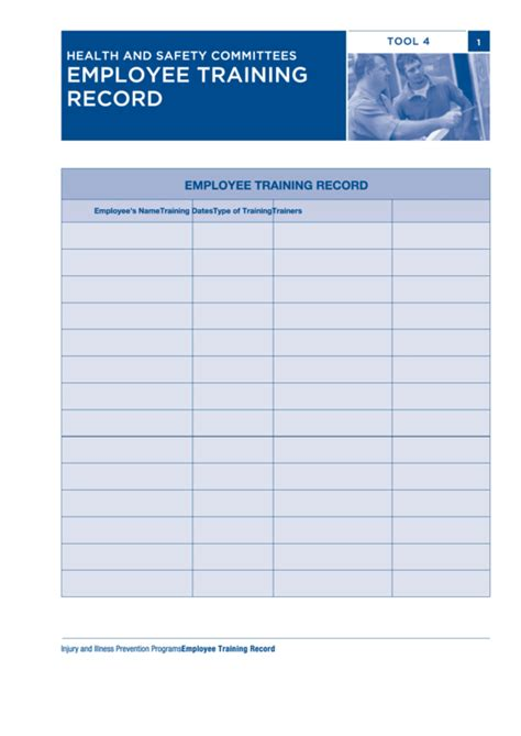 fillable employee training record printable