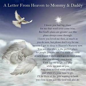 A Letter From Heaven to Mommy & Daddy #memorial #quote ...