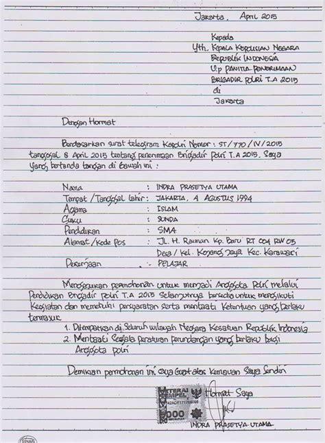 Contoh Surat Lamaran Bintara Tni Ad Tulis Tangan