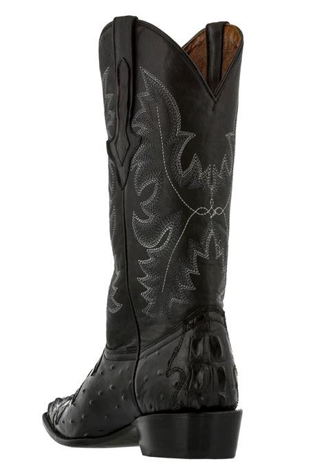 Mens Black Crocodile Ostrich Design Leather Western Cowboy
