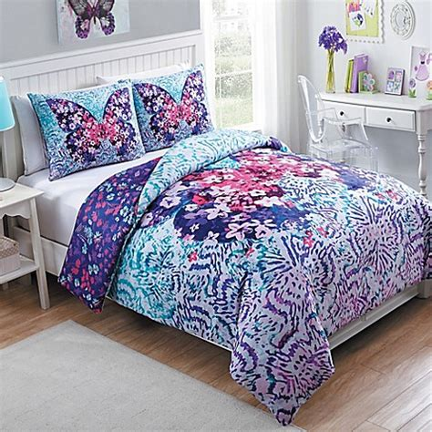 vcny fly  reversible comforter set  purple bed