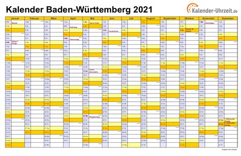 Kalender 2021 baden wurttemberg ferien feiertage excel vorlagen from www.kalenderpedia.de. Feiertage 2021 Baden-Württemberg + Kalender