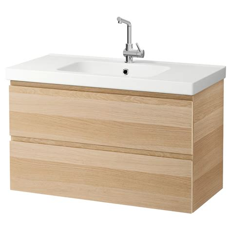 lavabo vasque ikea godmorgon odensvik wash stand with 2 drawers white stained oak effect 100x49x64 cm ikea