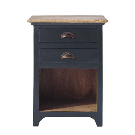 style de chambre pour fille table de chevet avec tiroirs en manguier gris l 45 cm